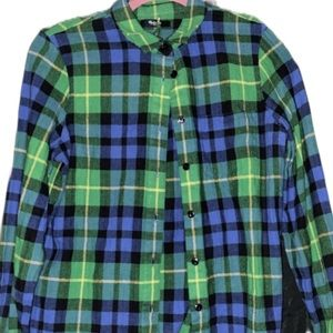 Madewell Tops - Madewell Green And Blue Plaid Flannel